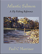Cover image of Atlantic Salmon: A Fly Fishing Reference. A Donald Pentz painting of an angler fishing a salmon pool on the Margaree River.