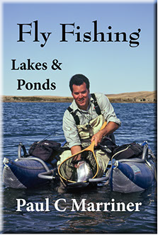 cover image for the eBook; Fly Fishing in Lakes and Ponds; angler in pontoon boat with large rainbow trout
