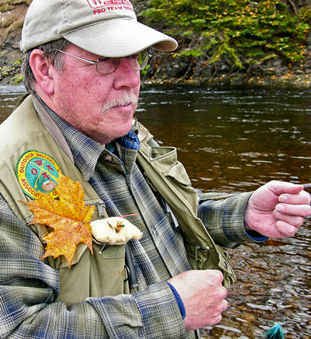 image of paul c marriner fly fishing in the Margaree River, Nova Scotia.