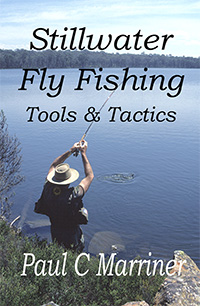 Cover of Stillwater Fly Fishing: Tools & Tactics. Image of Tasmanian angler fighting a brown trout.